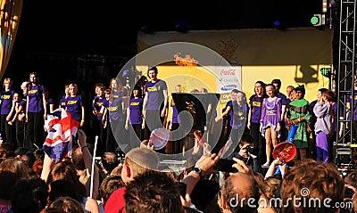 Concert olympique de relais de torche de Londres 2012 Image stock éditorial