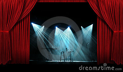 Concert With Stage With  Red Curtains Stock Image - Image: 17041131