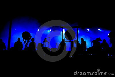 Concert stage silhouettes