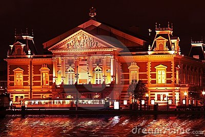 Concertgebouw by night in Amsterdam Netherlands