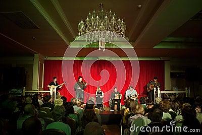 Concerto del danu irlandese della banda Fotografia Editoriale