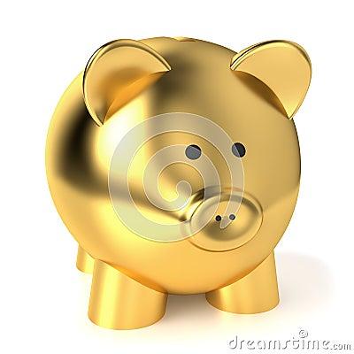 Concetto dorato di risparmio del porcellino salvadanaio