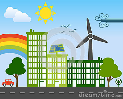 Concetto verde della città di energia
