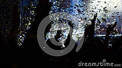 Concierto de la tarde muchedumbre Luz blanca confetti almacen de video