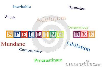 Concours d orthographe défini avec des blocs de lettre.