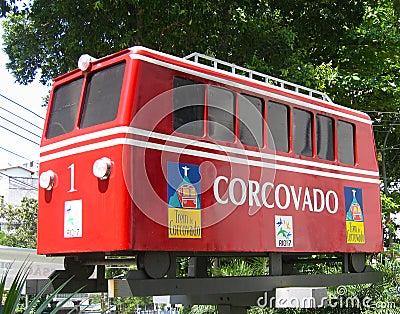 Concovado tram car in Rio de Janeiro, Brazil Editorial Photo