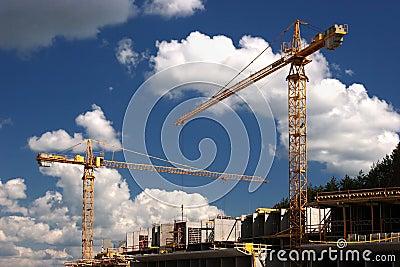 Concrete building built with tower crane
