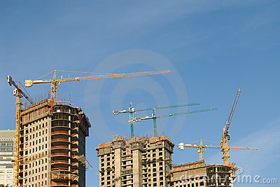 Concrete Building Construction with Cranes