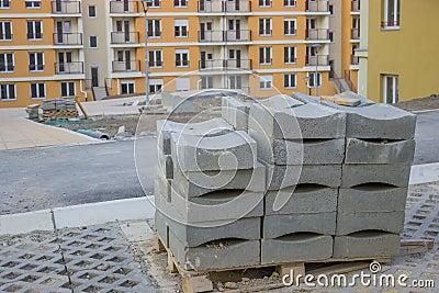 Concrete Curb block on the pallet