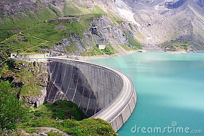 Concrete dam wall of Kaprun power plant