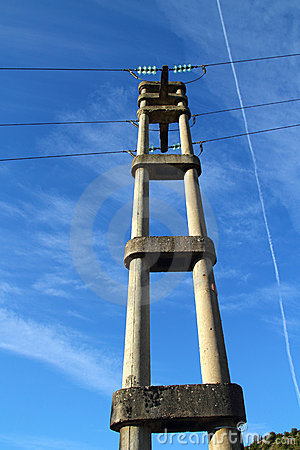 Concrete electric tower pole retro