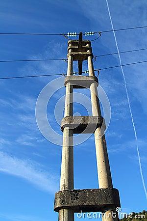 Concrete electric tower pole retro