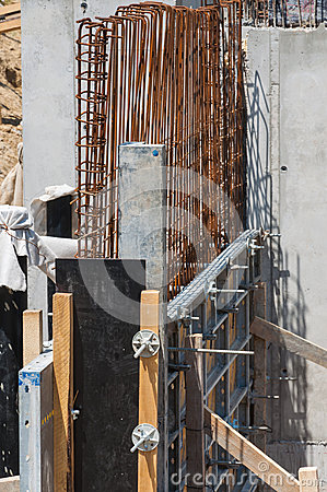 Concrete iron foundation construction detail