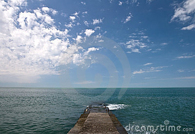 Concrete pier on Black Sea coast