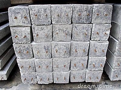 Concrete pole pile on ground