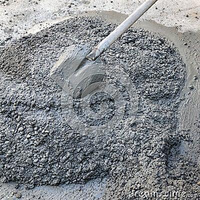 Concrete and shovel