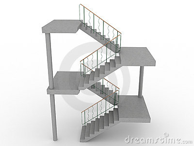 The concrete staircase with openings №1