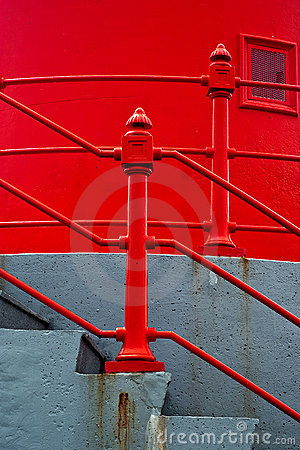 Concrete Stairs with Red Railing