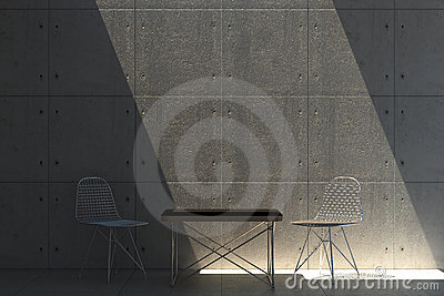 Concrete wall with Eames furniture