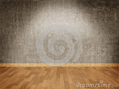 Concrete wall and parquet floor