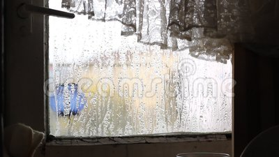 Condensatie op Verbrijzeld Venster stock videobeelden