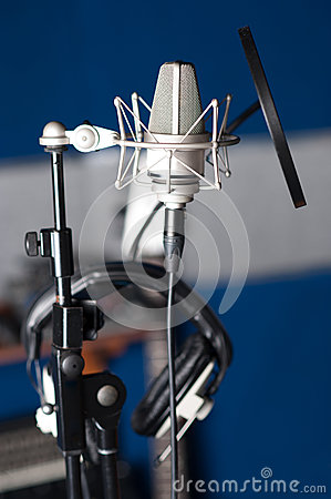 Condenser microphone, closeup shot.