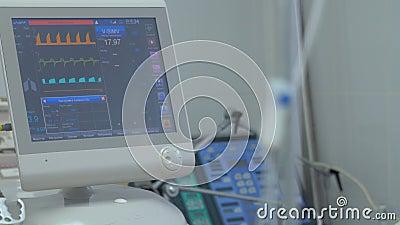 Condición paciente en ICU, Unidad de Cuidados Intensivos del ` s de las pantallas de visualización almacen de metraje de vídeo