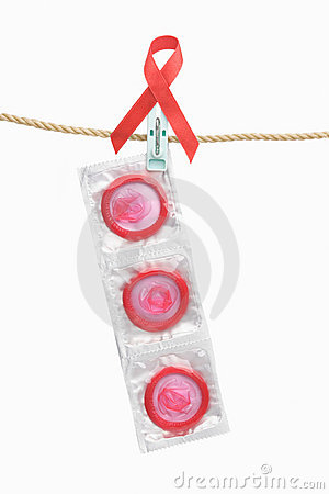Condom hanging with red ribbon