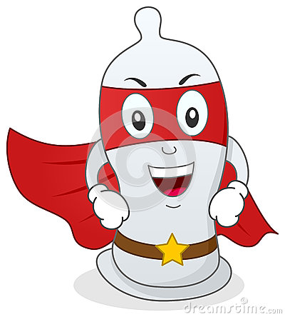 Condom Superhero Cartoon Character