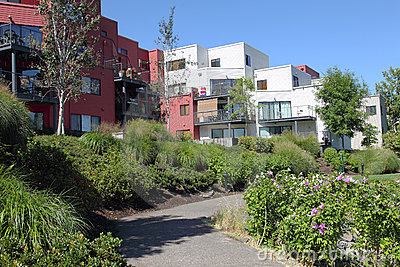 Condominiums in urban areas, Portland Oregon.