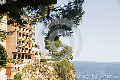 Condos cliff over Mediterranean Sea Monte Carlo