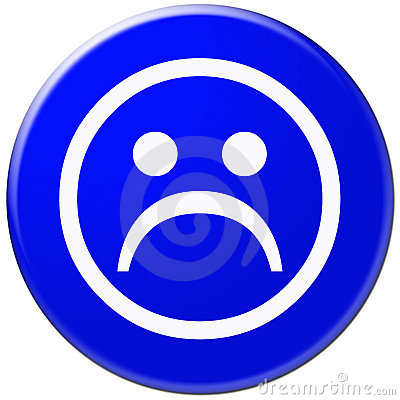 Ícone azul com símbolo da face triste