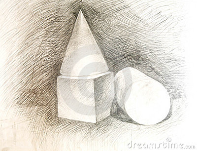 Cone, cube, the cylinder. Drawing academic