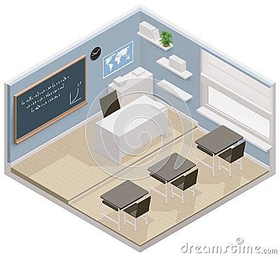 Ícone isométrico da sala de aula do vetor