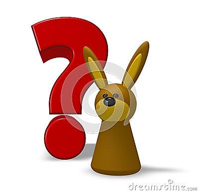 Conejo y signo de interrogación