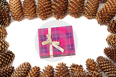 Cones around gift box