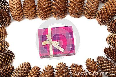 Cones around gift box