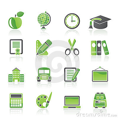 Ícones da escola e da instrução