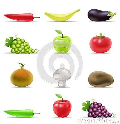Ícones da fruta e verdura
