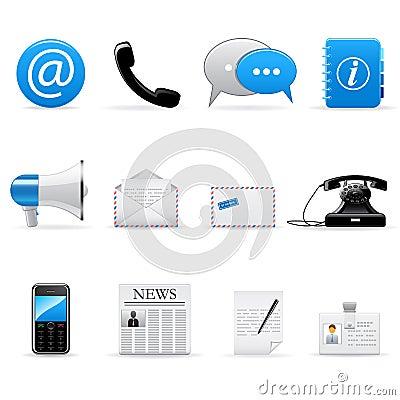 Ícones de uma comunicação do Internet