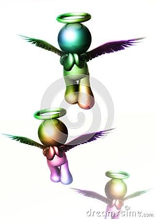 Ícones do anjo que voam ao céu