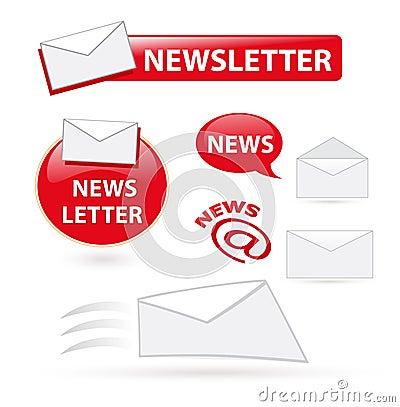 Ícones do boletim de notícias