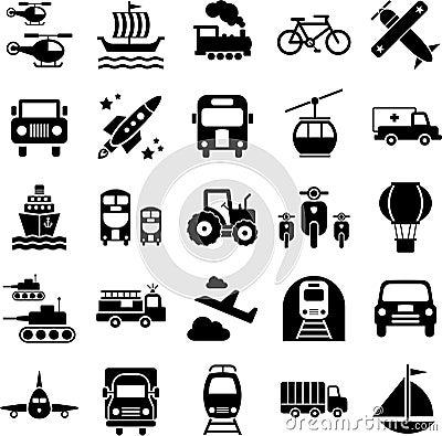 Ícones do curso do transporte