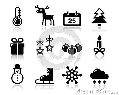 Ícones do preto do inverno do Natal ajustados