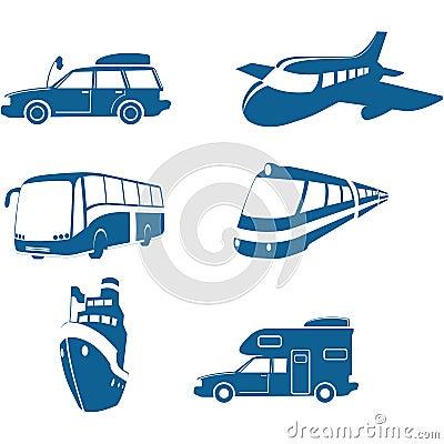 Ícones do transporte & do curso