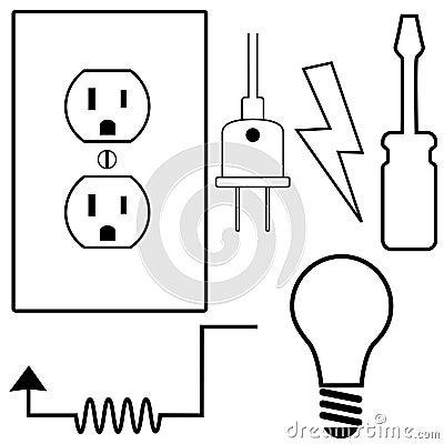 Ícones elétricos do símbolo do eletricista do reparo ajustados