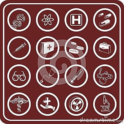 Ícones médicos e científicos.