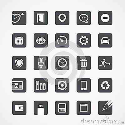 Ícones quadrados modernos da Web