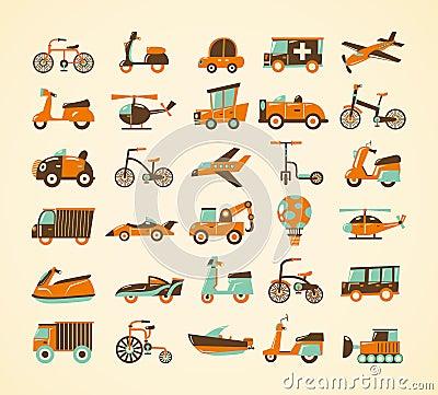 Ícones retros do transporte ajustados
