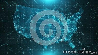 Conexões 4K das cidades do fundo do mapa dos EUA video estoque